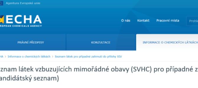 Kandidátský seznam byl rozšířen o4 nové SVHC látky