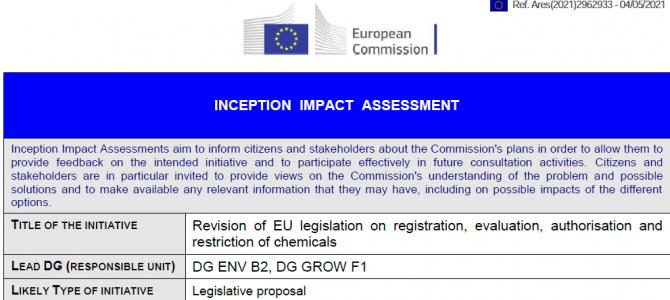 Revize nařízení REACH; průběžné hodnocení dopadů (IIA) – zasílání připomínek  do 1.6.2021