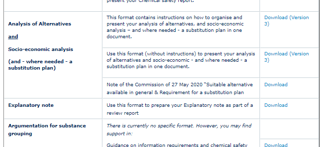 Aktualizované formáty žádosti o povolení (REACH autorizace)
